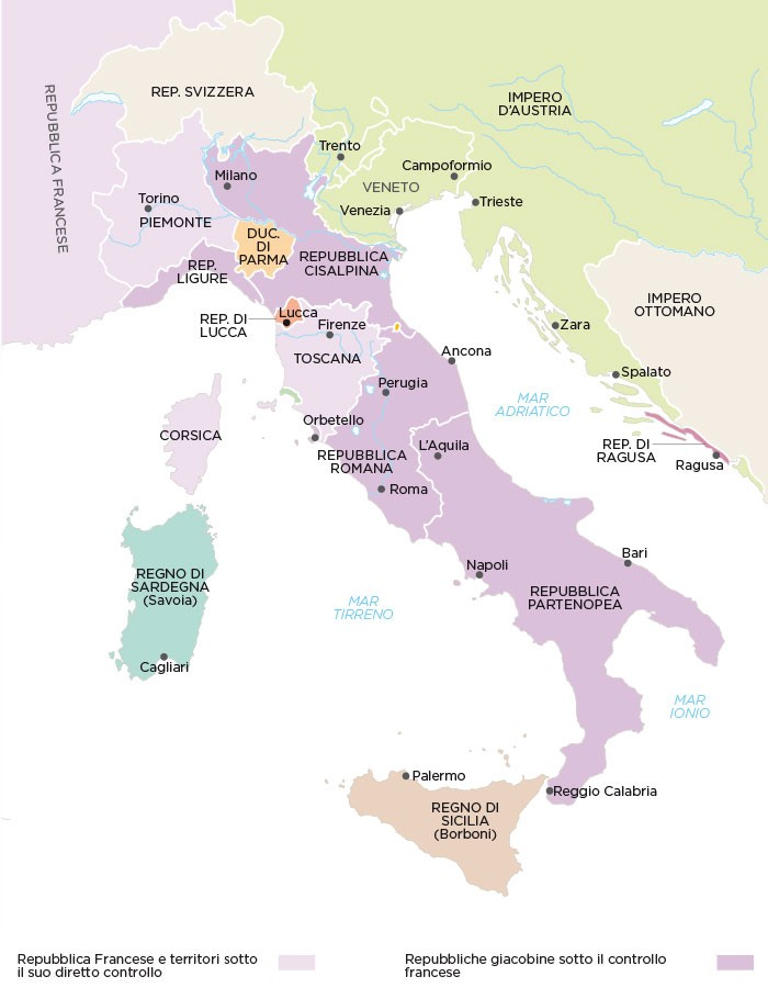 Cartina Italia 1810.Napoleone Silvana Poli